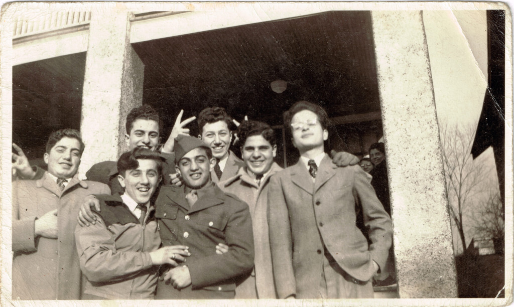1943 Richard Terzian in uniform with friends at mother's house. Front row: Ed Kazanjian, John Avakian, Richard Terzian. Back row: unknown, Ralph Vartigan, Charlie Partamian, John Jevanian