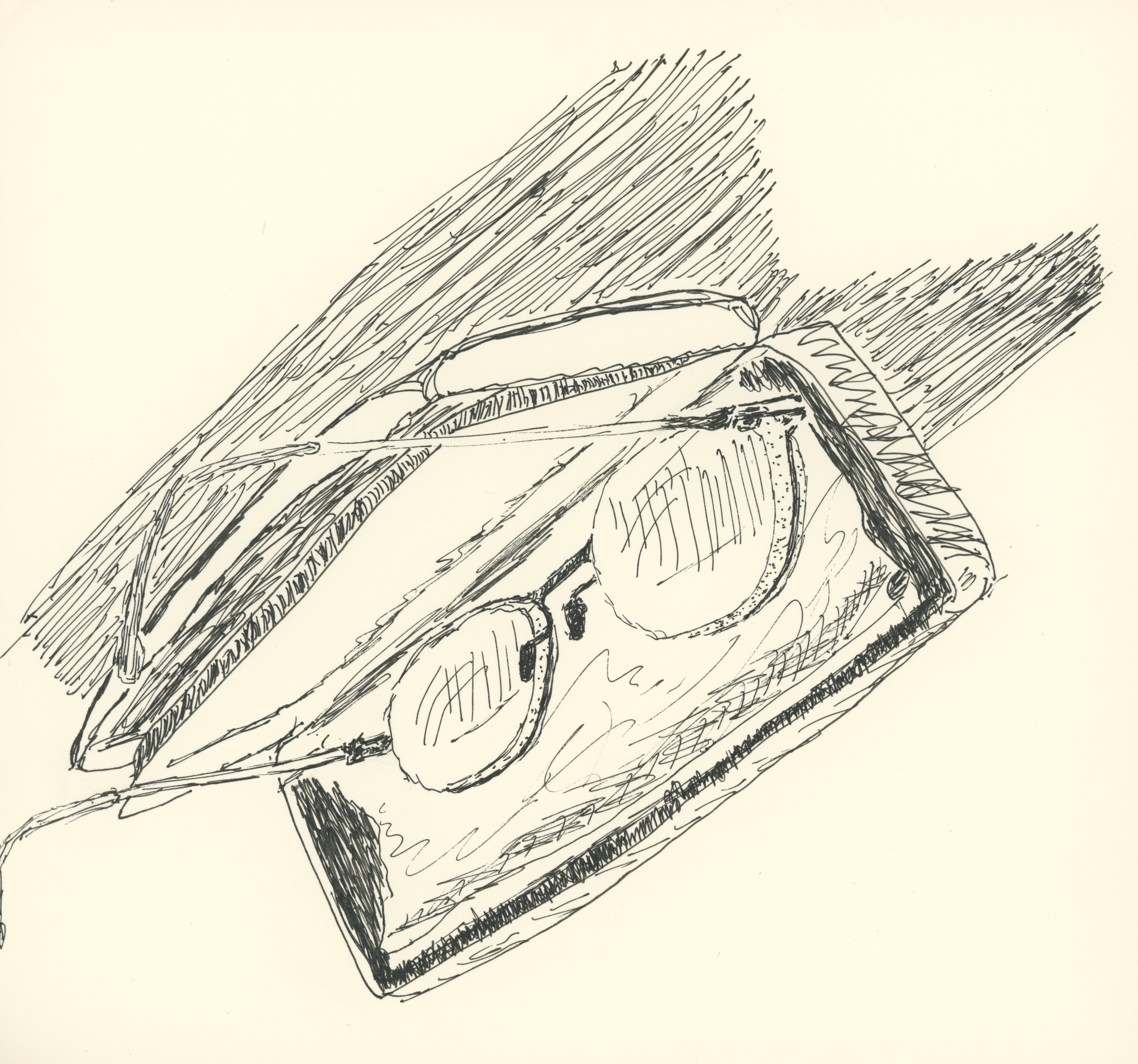 Glasses, drawing by Caleb Crain, 10 October 2015