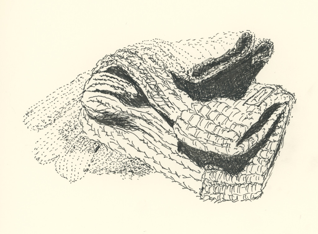 Folded hat and gloves, drawing by Caleb Crain, 20 October 2015