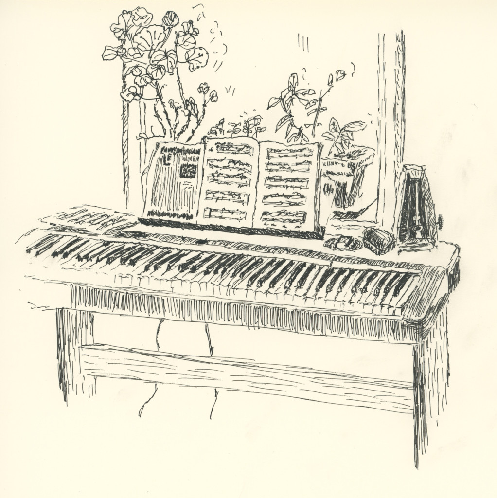 Electric piano and window boxes, drawing by Caleb Crain, 21 OCtober 2015