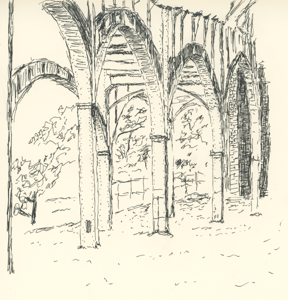 In Riverside Park, drawing by Caleb Crain, 22 October 2015