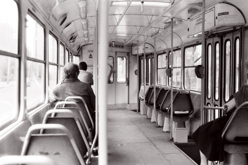 A Prague tram, 1990 or 1991, photo credit Caleb Crain