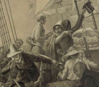The Pirates' Ruse (detail), February 1896: Male pirates, dressed as ladies and gentlemen, lure a merchant ship closer, while their mates hide with their weapons below the bulwarks