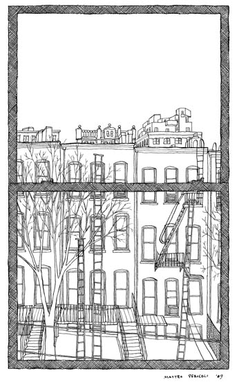 Matteo Pericoli, Caleb Crain's window in The View from Your Window, 2009