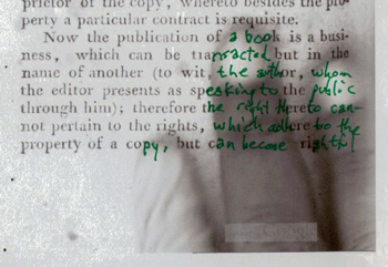 A printout, corrected in green ink, of Google's scan, partly obscured by the hand of Google's scanning technician, of an essay by Immanuel Kant on the injustice of counterfeiting books