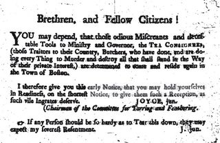 Joyce, Junior's handbill, 15 January 1774, from Albert Matthews, 'Joyce, Jun.' C.S.M. Publications 8: 88