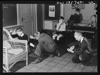 Schoolchildren watch their classmates act out the Boston Tea Party, Wilmington, Delaware, 1942 or 1943, Farm Security Administration