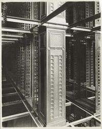 Interior Work. Construction of the Stacks. New York Public Library, 42nd Street and Fifth Avenue, June 24, 1907.
