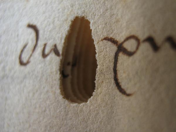 A hole made by a worm in a 15th century manuscript from the Dubrovnik archives, via @EmirOFilipovic