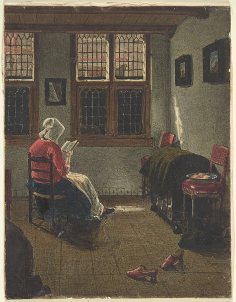François Bonvin, 'A Woman Reading, after Pieter Janssens Elinga,' 1846-47, Metropolitan Museum of Art