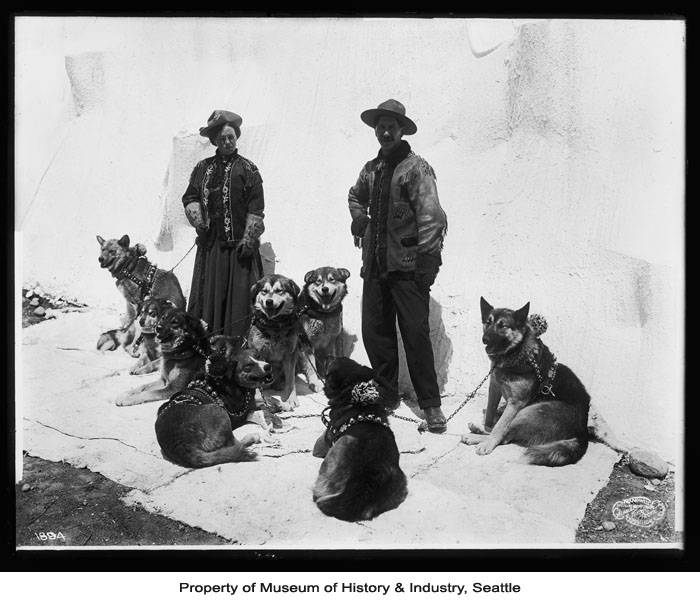 Frank H. Nowell, 'Caribou Bill and woman with dog team, Alaska-Yukon-Pacific Exposition, Seattle, 1909,' Seattle Museum of History & Industry