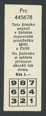 A fake tram ticket, Prague, 1990-1991
