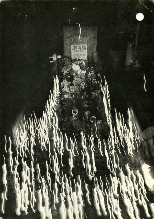 Candles at Jan Palach's grave