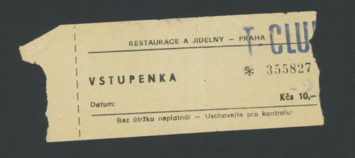 An admission ticket to T-Club, 1990