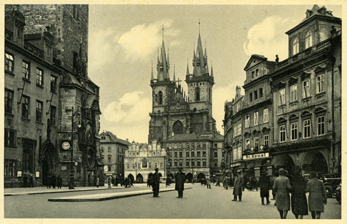 A postcard of Týn church