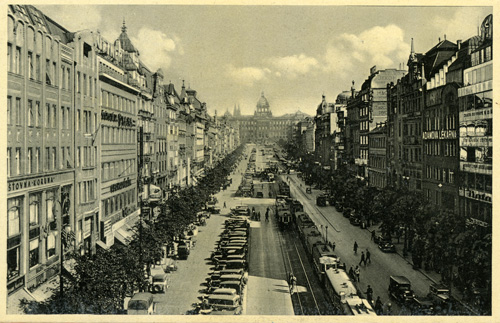 A postcard from the 1930s of Wenceslas Square, Prague