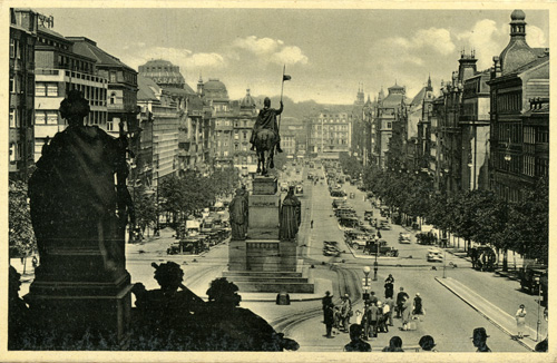 The statue of Saint Václav at the top of Wenceslas Square