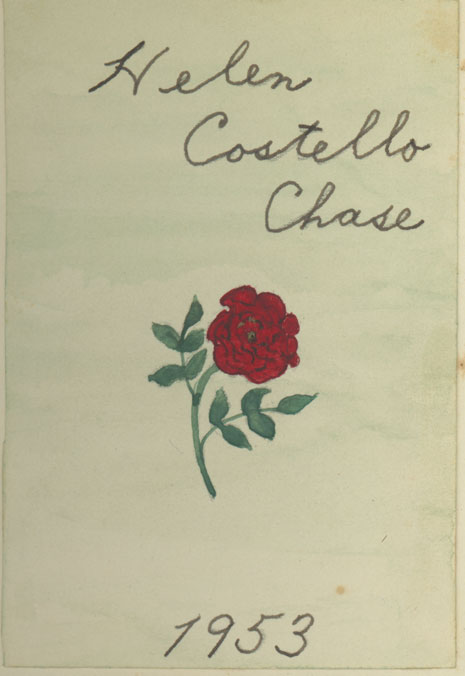 A bookplate of a rose, hand-painted by Helen Costello Chase, 1953
