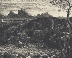 Samuel Palmer, Opening the Fold (detail)