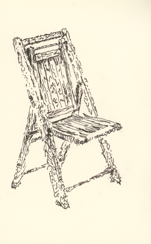 Folding chair (drawing by Caleb Crain)