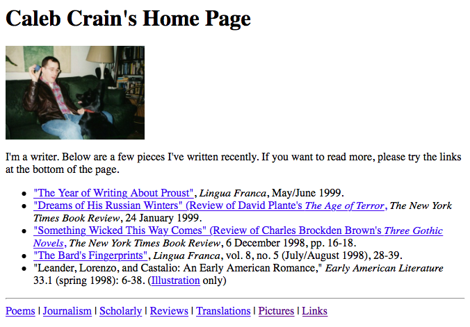 Caleb Crain's website 1999