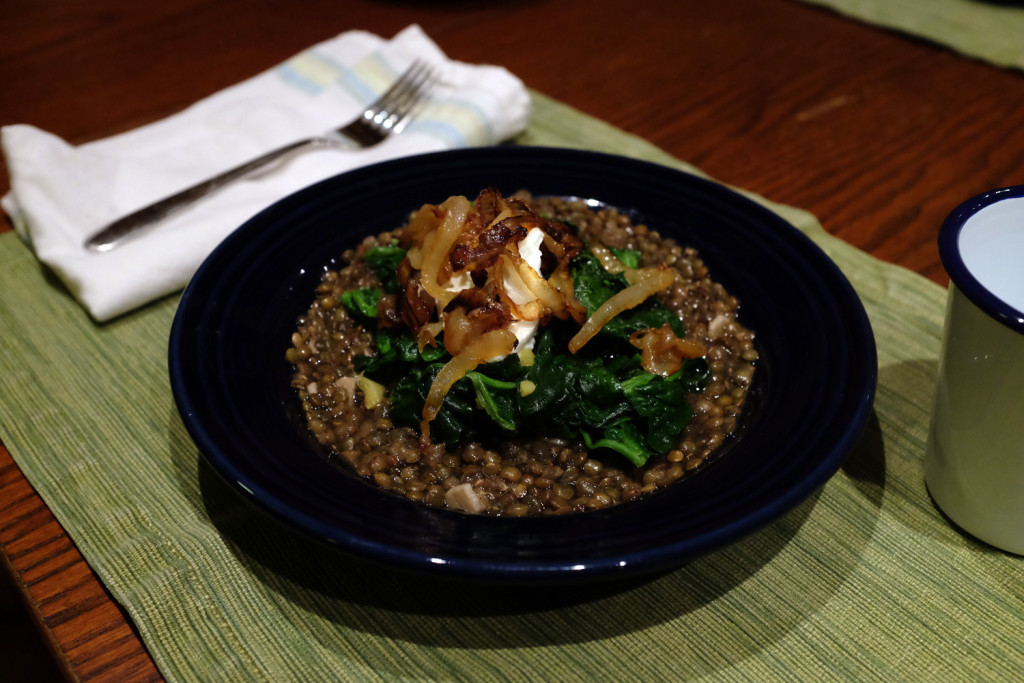 Lentils with gingery spinach