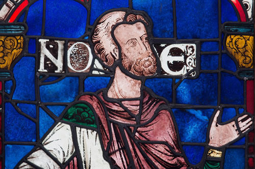 Noah, stained glass window from Canterbury Cathedral, 1178–80, on display in the exhibit 'Radiant Light' in the Cloisters, NYC, until May 18, 2014
